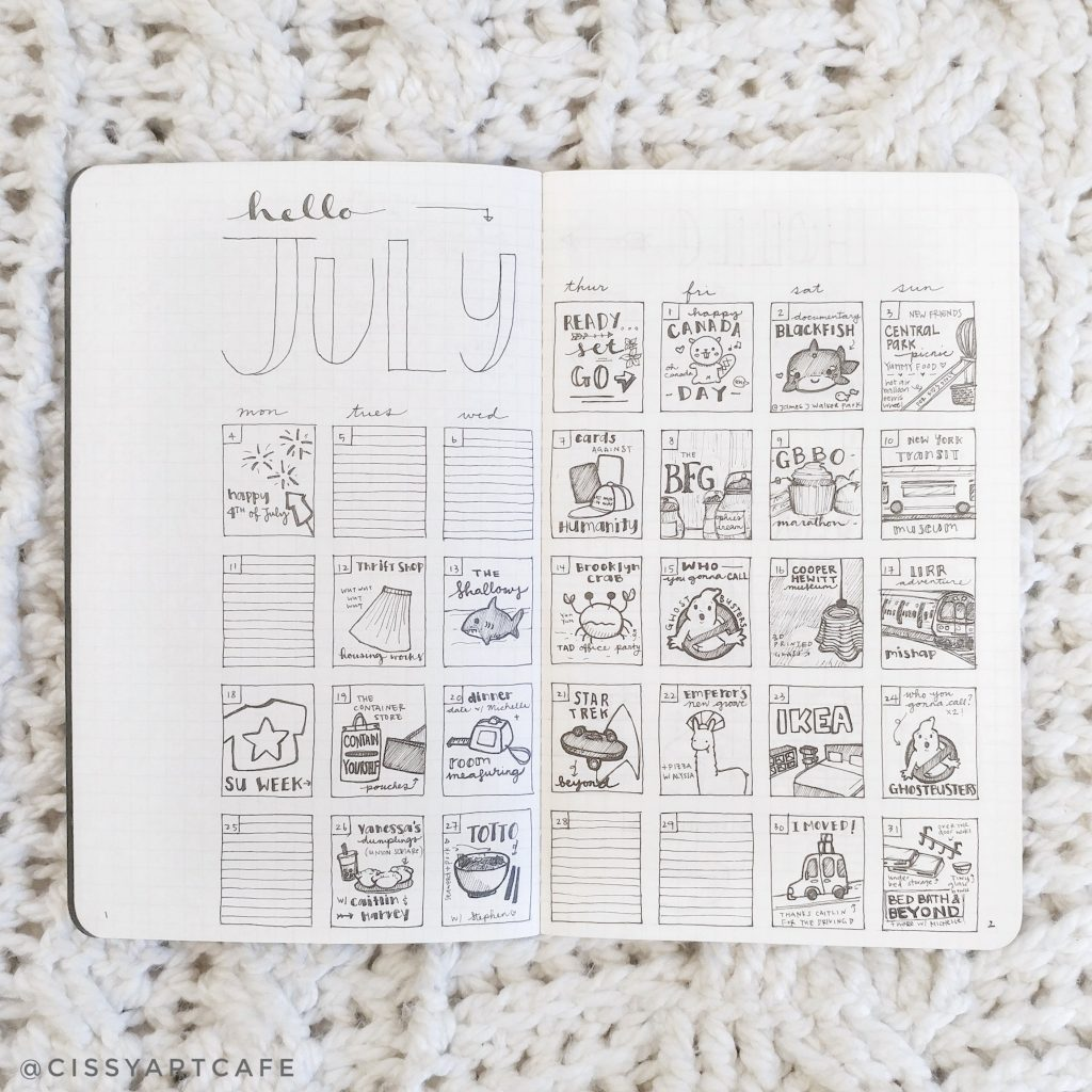 First Calendar Doodles, July 2016 - Cecile @ Cissy's Art Café