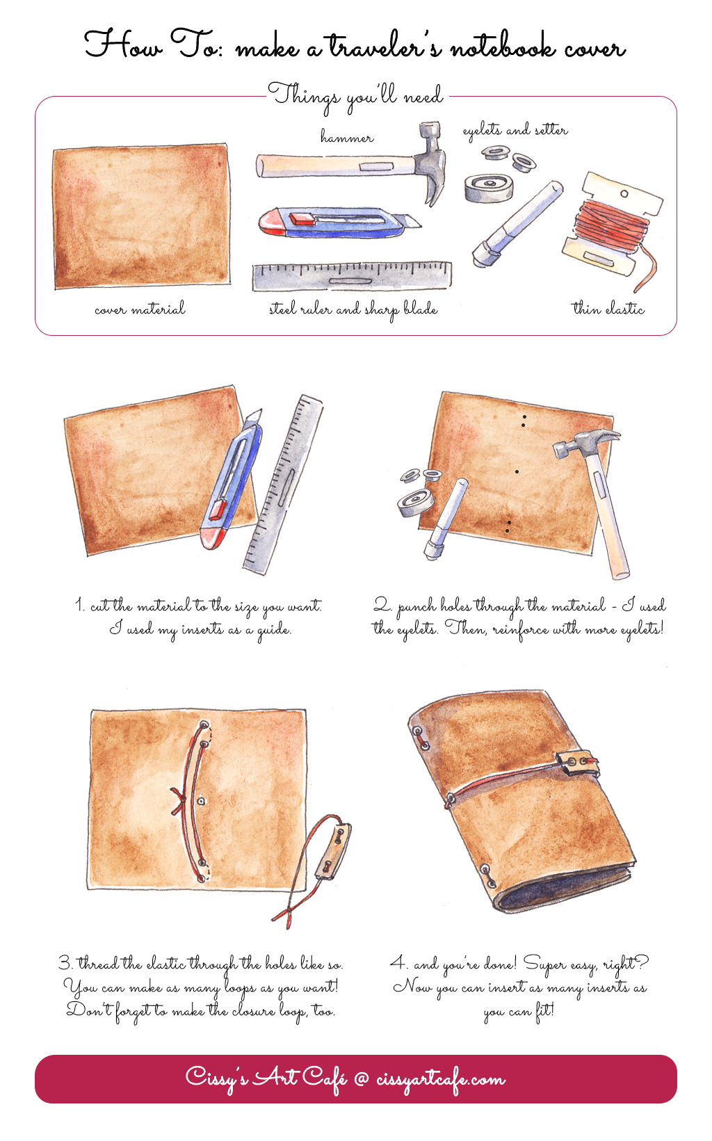 How To Make a Traveler's Notebook Cover - Cissy's Art Café