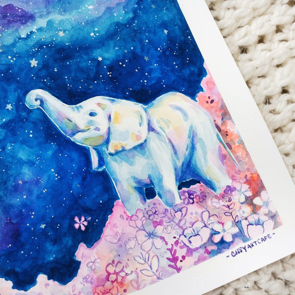 Starry Night Elephant - 100 Days of Daily Painting // Cissy's Art Café