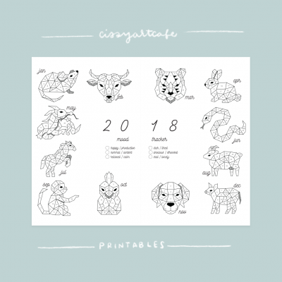 Geometric Animals Tracker - Cissy's Art Café