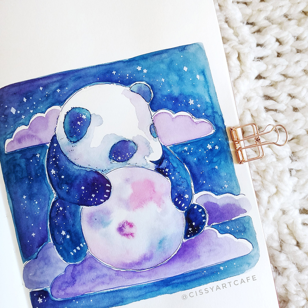 Galaxy Panda: 100 Days of Daily Painting - Cissy's Art Café