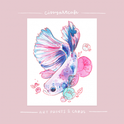 Betta Fish Art Print & Greeting Card @ Cissy's Art Café