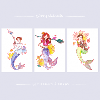 Fan Art Mermaids Art Prints & Greeting Cards @ Cissy's Art Café