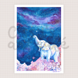 starry night elephant art print @ cissy's art café