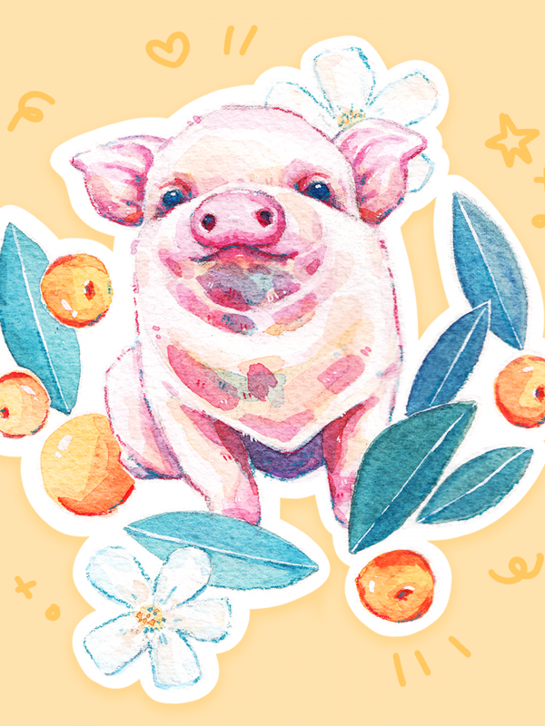 lucky piggy sticker @ cissy's art café