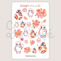 floral robot friends stickers @ cissy's art café