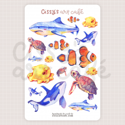 endangered ocean sticker sheet @ cissy's art café