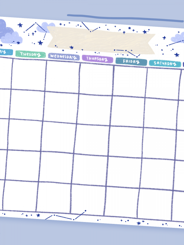 stars and clouds monthly calendar printable @ cissy's art café