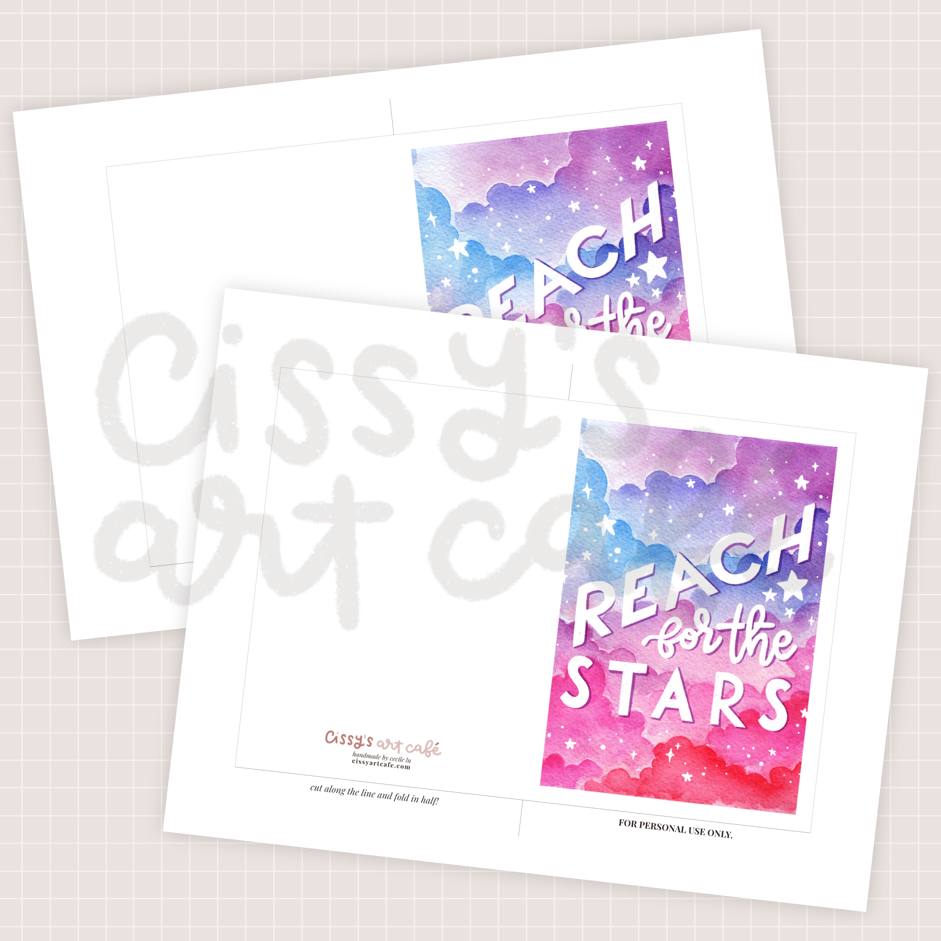 reach for the stars greeting card @ cissy's art café