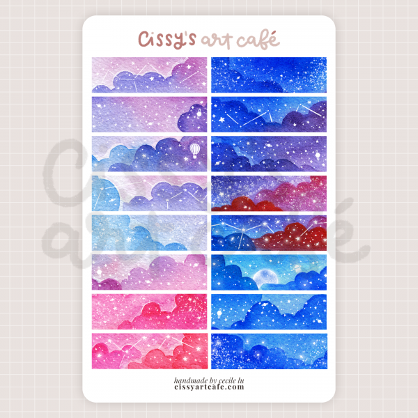 day & night washi stickers @ cissy's art café