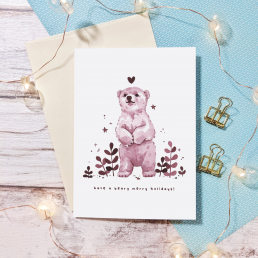 beary merry holidays greeting card @ cissy's art café