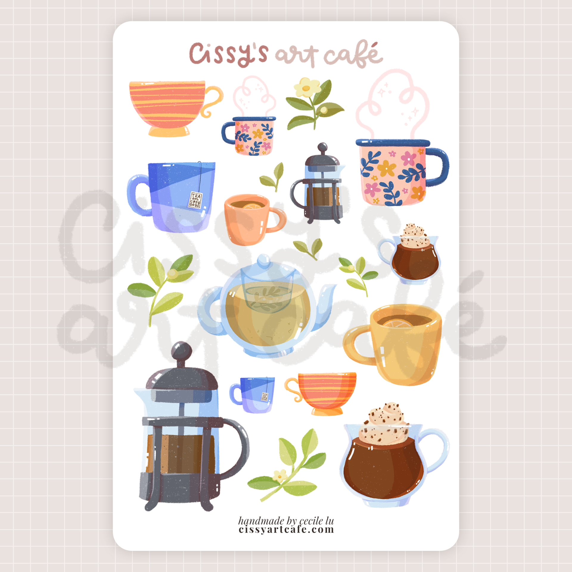 cozy beverages sticker sheet @ cissy's art café