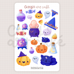 spooky stickies sticker sheet @ cissy's art café
