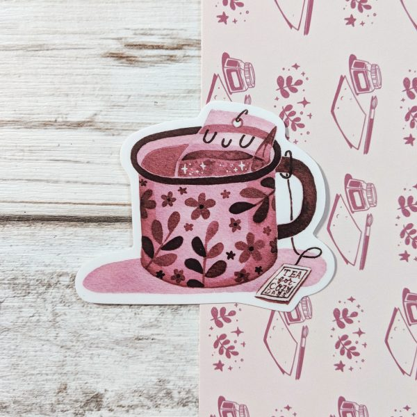 cozy tea vinyl sticker @ cissy's art café