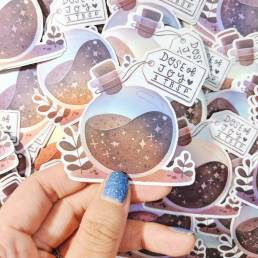 dose of joy holographic sticker @ cissy's art café