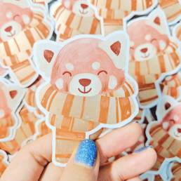 rose gold red panda sticker @ cissy's art café
