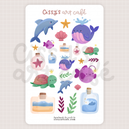seaside friends sticker sheet @ cissy's art café
