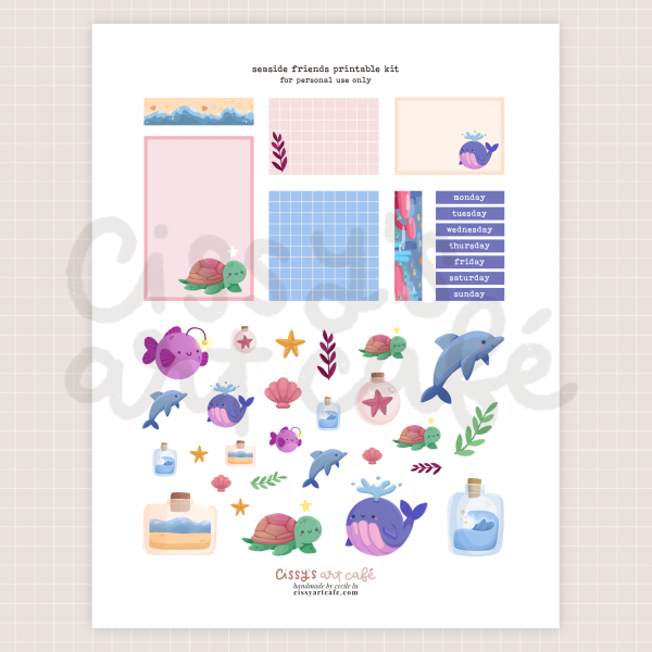 seaside friends printable kit @ cissy's art café