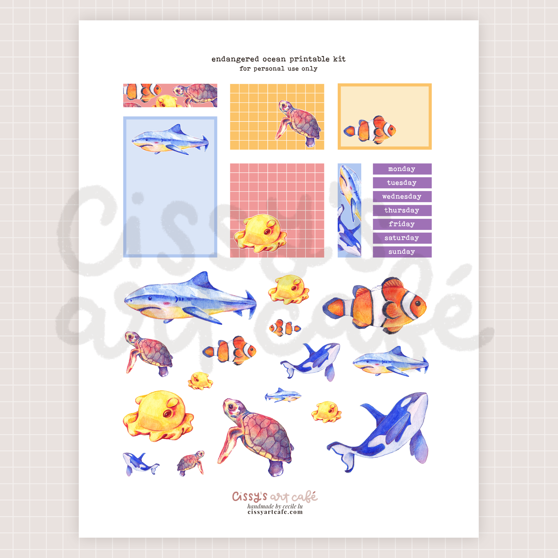 endangered ocean printable kit @ cissy's art café