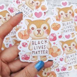 honey the wolfie supports black lives matter fundraiser sticker @ cissy's art café
