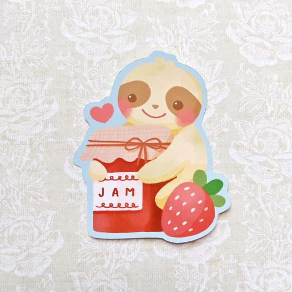 baby sloth loves his jam jar sticker @ cissy's art café