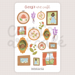 cottagecore frame sticker sheet @ cissy's art café