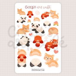 animal peachies sticker sheet @ cissy's art café