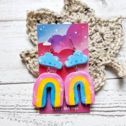 rainbow handmade clay earrings @ cissy's art café