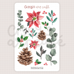 holiday foliage sticker sheet @ cissy's art café