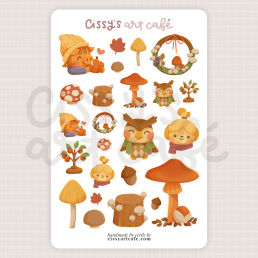 autumn crossing sticker sheet @ cissy's art café