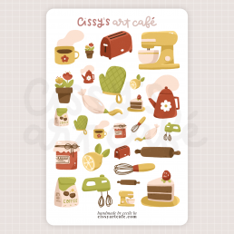 retro kitchen sticker sheet @ cissy's art café