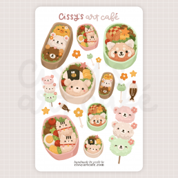kawaii bento sticker sheet @ cissy's art café